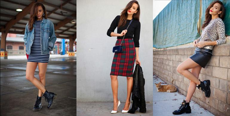 Грубые ботинки и юбка